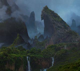 Обои на телефон туман, неизведанный, лес, каньон, дерево, горы