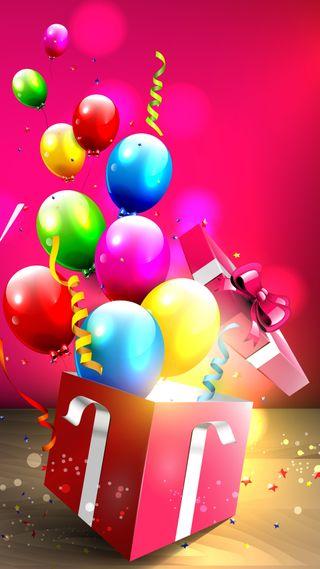 Обои на телефон шары, празднование, подарок, коробка