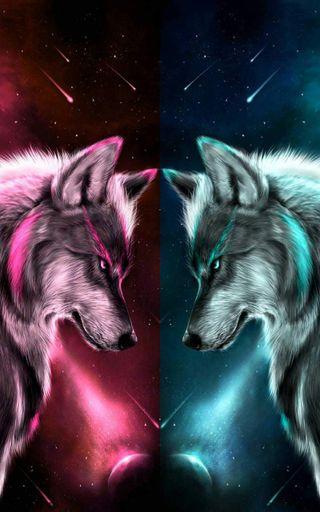 Обои на телефон волк, синие, розовые, pink blue
