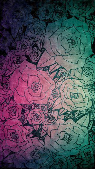 Обои на телефон чернила, черные, цветы, романтика, розы, розовые, рисунки, принт, набросок, бирюзовые, rose print