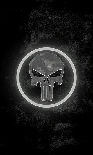 Обои на телефон каратель, череп, серебряные, логотипы, silver skull