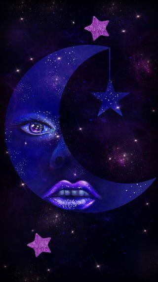 Обои на телефон фиолетовые, мир, луна, космос, звезды, галактика, вселенная, абстрактные, galaxy