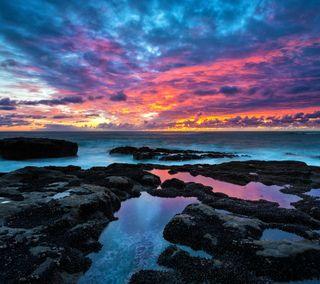 Обои на телефон берег, облака, небо, камни, горизонт, вода