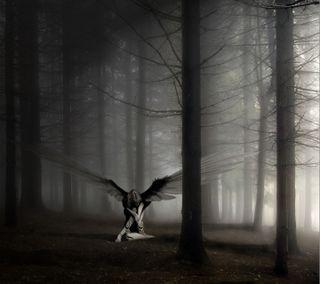 Обои на телефон готические, лес, готы, ангел