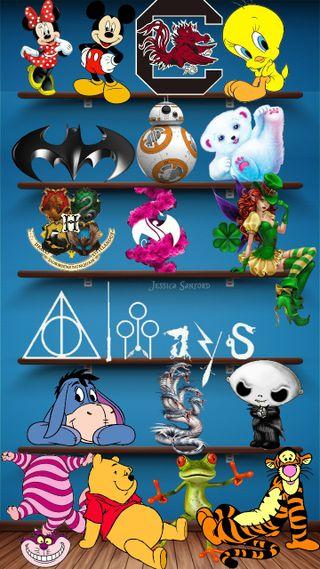 Обои на телефон пух, синие, минни, микки, игрушка, бэтмен, toy shelf
