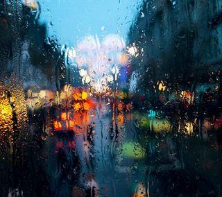 Обои на телефон красочные, цветные, огни, дождь, стекло