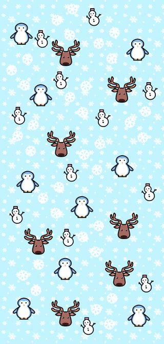 Обои на телефон олень, снеговик, снег, синие, рождество, пингвин, милые, каваи, зима, raindeer