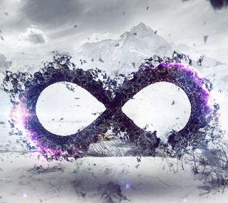 Обои на телефон фиолетовые, символ, пейзаж, горы, бесконечность, абстрактные, infinity