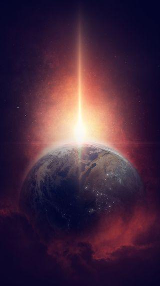 Обои на телефон солнечный, планета, космос, земля, звезда, горизонт, вселенная, 4k