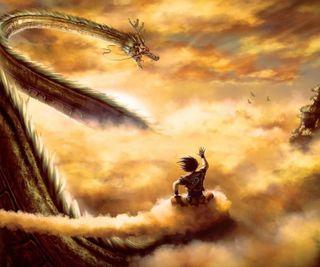 Обои на телефон dariozo, dragon, hq, аниме, приятные, небо, дракон, гоку, мяч, лучшие