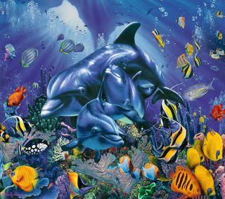 Обои на телефон подводные, дельфины