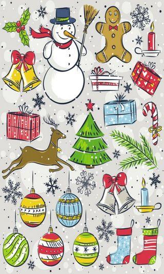 Обои на телефон олень, снеговик, свеча, рождество, мультфильмы, дерево