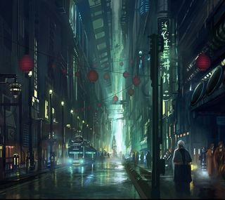 Обои на телефон фантастика, будущее, рисунки, киберпанк, город, sci-fi