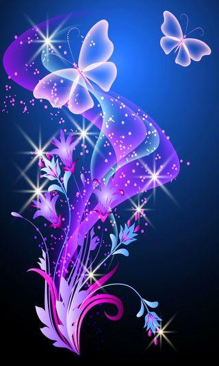 Обои на телефон векторные, фиолетовые, розовые, красочные, бабочки, абстрактные, purple pink, colorful vector