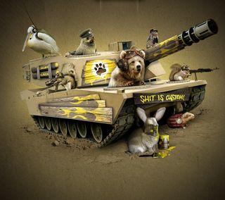 Обои на телефон шутка, танк, рисунки, забавные, животные, герои, война, военные, арт, kellys heroes, art