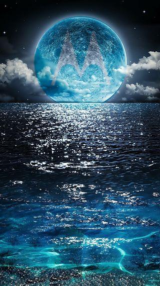Обои на телефон волны, ночь, небо, моторола, море, луна, motorola