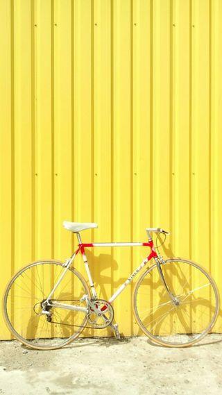 Обои на телефон яркие, стена, желтые, велосипед