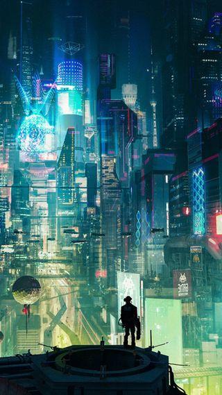 Обои на телефон токио, неоновые, клинок, киберпанк, зеленые, город, runner, cyberpunk city green