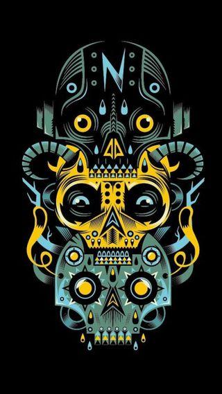 Обои на телефон племенные, череп, тьма, мексика, арт, artwork skulls