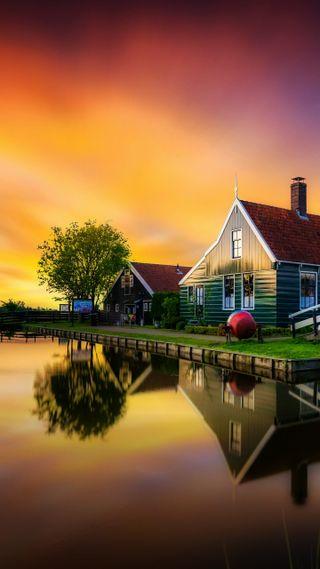 Обои на телефон дом, пейзаж, озеро, закат, волшебные, magical landscape, hd