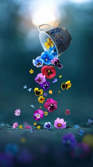 Обои на телефон чашка, цветы, фантазия, падение, креативные, красочные, кофе, арт, hd, falling flowers, cup, coffee cup, art