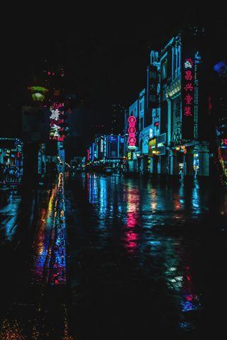 Обои на телефон китай, улица, ночь, крутые, дождь, город, streetphotography, qatar, doha, beijing street