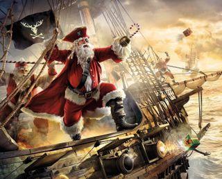 Обои на телефон подарок, корабли, шторм, санта, пираты, море, santa claus pirate, pirate ship