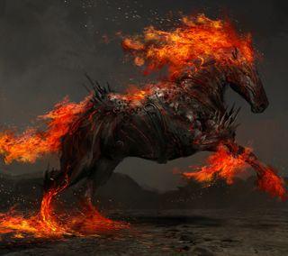 Обои на телефон пламя, черные, огонь, лошадь