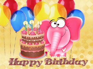 Обои на телефон слон, шары, торт, счастливые, день рождения, happy birtday, cake birthday, 640x480px