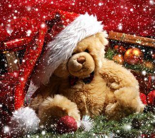 Обои на телефон медведь, рождество, новый, taddy bear, 2013