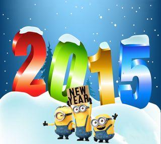 Обои на телефон год, счастливые, снег, праздновать, новый, миньоны, зима, minion new year, january, happy, 2015