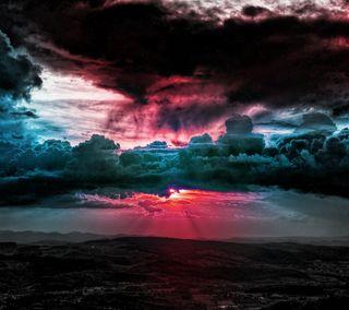 Обои на телефон небо, природа, прекрасные, пейзаж, облака, красочные