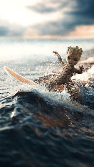 Обои на телефон серфить, грут, мстители, марвел, малыш, marvel, baby groot surf