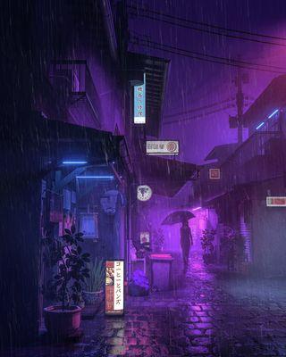 Обои на телефон женщина, японские, фиолетовые, улица, растения, ночь, дом, дождь, амбрелла