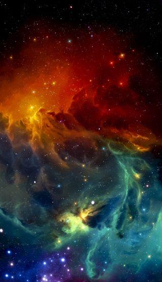 Обои на телефон оранжевые, синие, радуга, природа, красые, зеленые, звезды, галактика, universum, galaxy, 4k