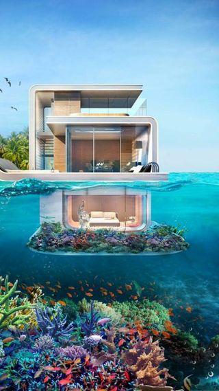 Обои на телефон подводные, море, дом, будущее, future home