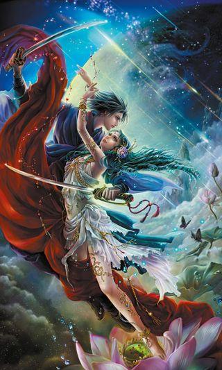 Обои на телефон танец, фантазия, пара, магия, любовь, любовники, вместе, protect, love