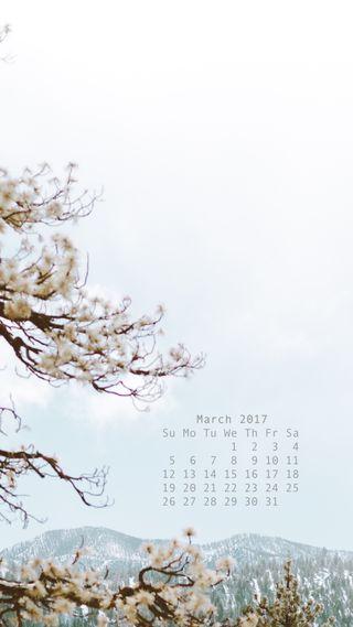 Обои на телефон март, календарь, весна, 2017