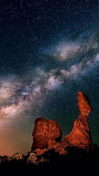 Обои на телефон путь, ночь, небо, млечный, звезды, звезда, галактика, plateau, galaxy