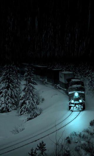 Обои на телефон рельсы, поезда, ночь, дорога