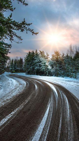 Обои на телефон погода, солнце, снег, природа, зима, дорога, деревья