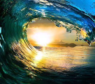 Обои на телефон волна, солнце, океан, море, закат, вода