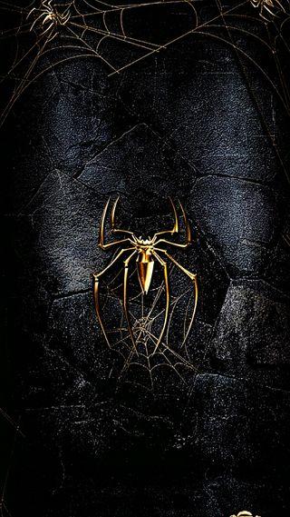 Обои на телефон веном, паук, золотые, веб, featured