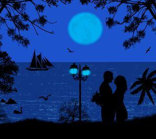 Обои на телефон силуэт, пара, ночь, любовь, лунный свет, векторные, абстрактные, sillhouette, silhouette couple, love