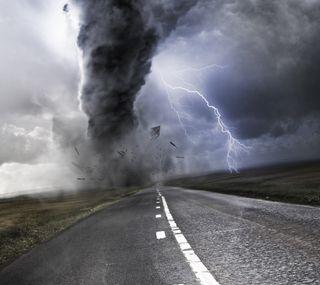 Обои на телефон шторм, торнадо, природа, дорога