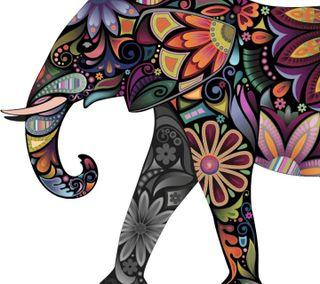 Обои на телефон слон, цветы, арт, art