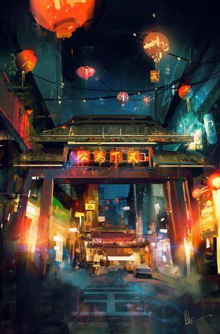 Обои на телефон будущее, японские, улица, старые, ночь, лампа, shop