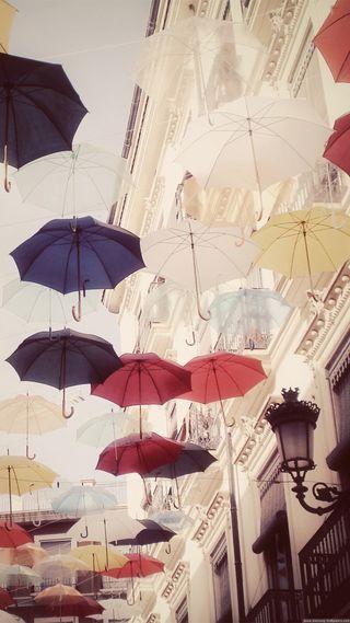 Обои на телефон тень, цветные, улица, зонтики, город, амбрелла