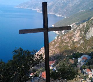 Обои на телефон греция, христос, крест, исус, oros, mount, monh, hellas, athos, agion