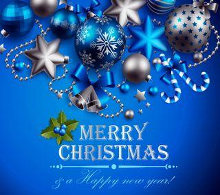 Обои на телефон шары, украшение, счастливое, синие, рождество, новый